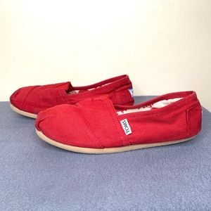 Toms Red Women's Loafers Size 8